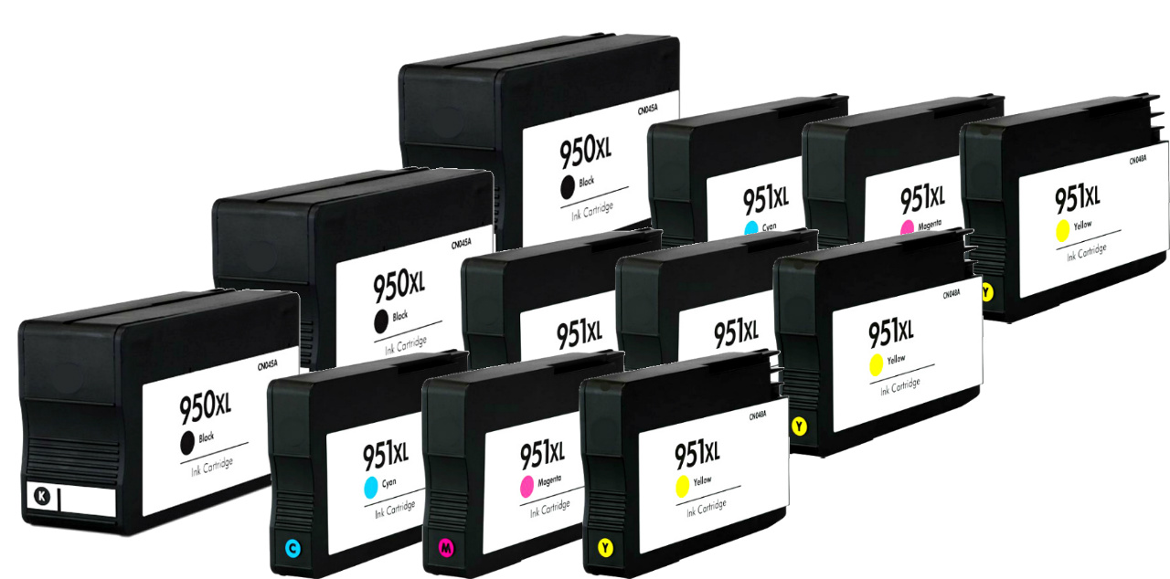 12 Pack 950xl 951 Xl Ink Cartridges For Hp Officejet Pro 8600 8610 Tinta Catridge 950 Black Original The Above Picture Is A Stock Photo That Has Been Altered To Remove Any References Trademark Brand Name Cartridge You Receive Will Be Non Oem