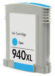 HP #940XL (C4907A) High Yield Cyan Ink Cartridge (Remanufactured) - Shows Accurate Ink Levels