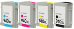 HP #940XL Ink Cartridge 4PK - Black, Cyan, Magenta, Yellow (Remanufactured) - Shows Accurate Ink Levels