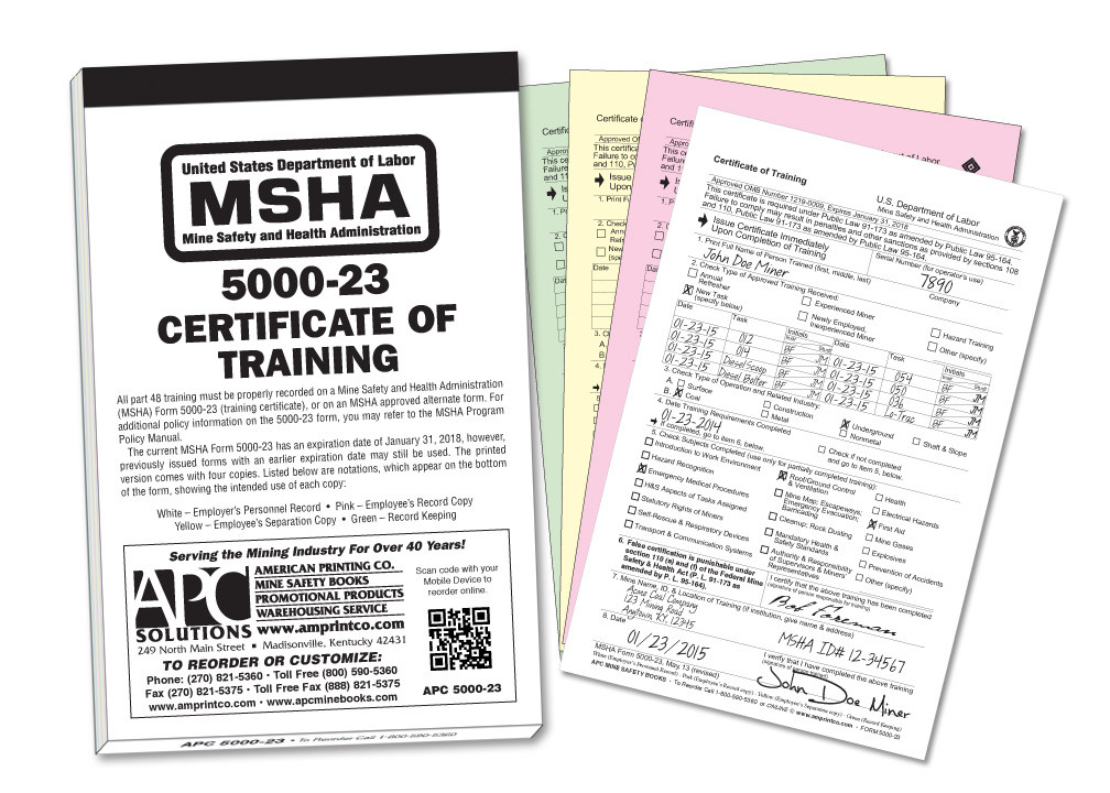apc 5000-23 – msha certificate of training