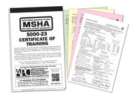 The APC 5000-23 MSHA Certificate of Training includes 25 4-part NCR sets, and thick, wrap around cover to prevent unintentional NCR transfer.