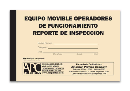 Mobile Equipment Pre-Operation Checklist (Spanish Version): Equipo Movible Operadores De Funcionamiento Reporte De Inspeccion