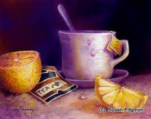 8 x 10 Tea & Lemons S533-2/500 Original Painting in Pastel Print by Susan Edgmon