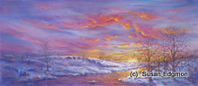 7 x 16 Winter Sunset S410-4/500 Original Painting in Pastel Print by Susan Edgmon