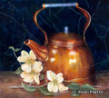 10.5 x 11.75 Copper Tea Pot With Dogwoods S596 Original Painting in Oil by Susan Edgmon
