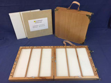 "W2 Workshop & studio Pastel box is 14"" X 14"" X 3"" closed and is 28"" X 14"" X 1 1/2"" when open.  This box holds a great number of pastels for its size."