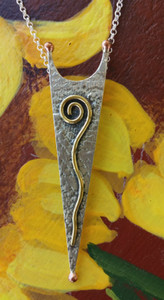 Dawn on the Winter Solstice Hammered Megalith 3 Metal (Sterling Silver, Brass & Copper) Necklace Front view.