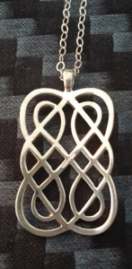 Declan Killen - Award Winning Dublin Artist Sterling Silver Irish Knot Necklace Reverse view.