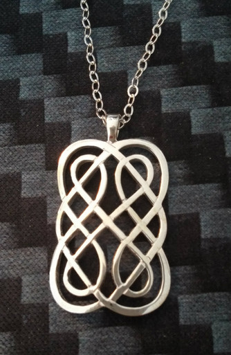 Declan Killen - Award Winning Dublin Artist Sterling Silver Irish Knot Necklace Front view.