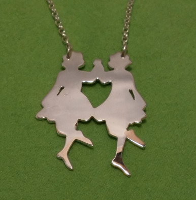 Irish Step Dancers - Group Dance, Double Sterling Silver Pendant & Chain Front Side.
