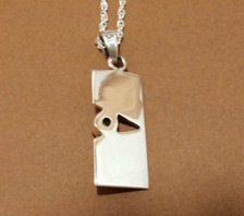 Pierodot Linen Textured Sterling Silver Necklace - New Grange Reverse side of pendant.
