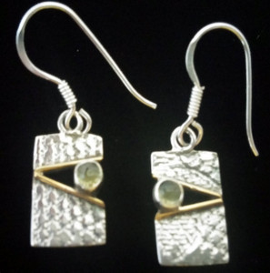 Pierodot Linen Sterling Silver Earrings Front View.