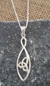 Simply Designed Sterling Silver Trinity Knot Necklace & Chain