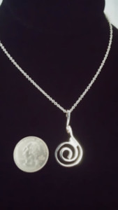"""A Sterling Silver"" Celtic Spiral Pendant & Chain actual size."