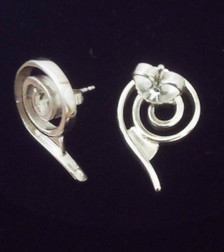 """Sterling Silver"" Celtic Spiral Post Earrings reverse view."