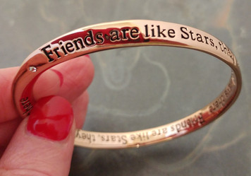 Friends Are Like Stars Rose Gold Plate W/Crystal Mobius Bangle Bracelet