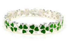 Green Enamel Shamrock Adult Stretch Bracelet.