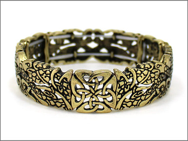 Birds of Paradise Stretch Gold Toned Bracelet with Trinity Knot Motif.