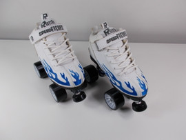 **SLIGHTLY USED** Sure-Grip White Rock with Blue Flame Quad Speed Roller Skate Size 5 with Black Heart Throb Wheels