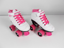 **SLIGHTLY USED** Lenexa Hoopla - Kids Roller Skate White and Pink Size 1