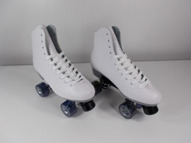 **SLIGHTLY USED** Sure-Grip Malibu Indoor / Outdoor Skate White Size 10 with American Patriot Purple Wheels