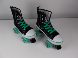 **SLIGHTLY USED** Hype MVP Quad Roller Skate Black and Teal Size 7