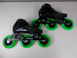**SLIGHTLY USED** Luigino Strut Inline Skate Size 4 with VNLA Loco Verde Wheels