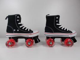 **SLIGHTLY USED** MVP Quad Roller Skate Black and Red Size 4