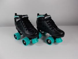 **SLIGHTLY USED** Lenexa Hoopla - Kids Roller Skate Black and Teal Size 4