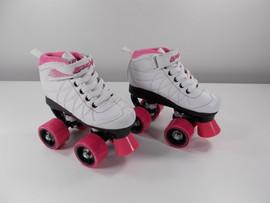 **SLIGHTLY USED** Lenexa Hoopla - White and Pink - Kids Roller Skates Size J12