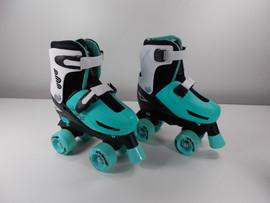 **SLIGHTLY USED** Lenexa Go-Gro Black and Teal Adjustable Quad Skate Combo Size Medium