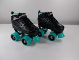**SLIGHTLY USED** Lenexa Hoopla - Kids Roller Skate Black and Teal Size J12
