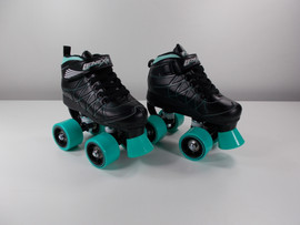 **SLIGHTLY USED** Lenexa Hoopla - Kids Roller Skate Black and Teal - Size J11