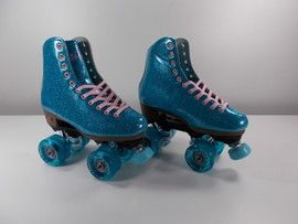 **SLIGHTLY USED** Sure-Grip Stardust Blue Glitter Outdoor Roller Skate  Size - 4