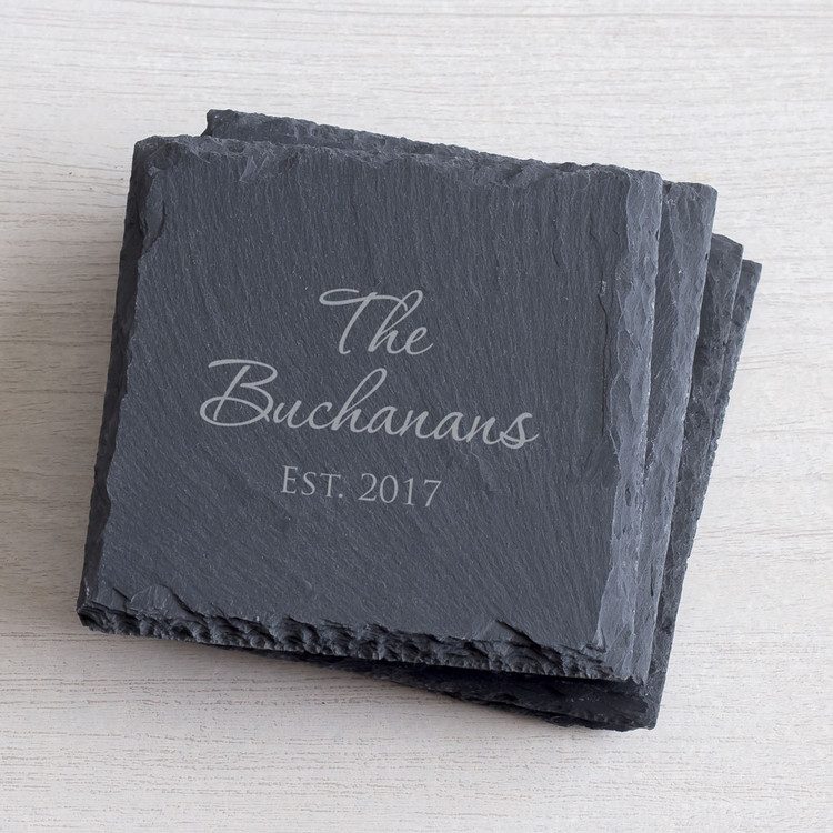 Personalized wedding slate coaster set
