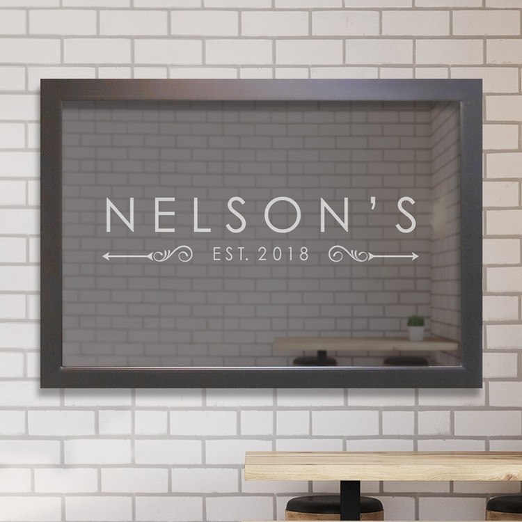 Personalized contemporary name bar mirror