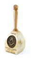 Light Tone for main wood & medium tone for handle with laser engraved Square and Compass