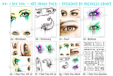 2-I SEE YOU - Art Image Pack by Michelle Grant desiGns 4x B&W & Art Images in A4, A5 & A6 sizes & 1x A4 Quote Sheet - 8x Digital Jpeg files @300 dpi
