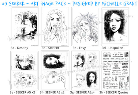 3- SEEKER - Art Image Pack by Michelle Grant desiGns 4x B&W & Art Images in A4, A5 & A6 sizes & 1x A4 Quote Sheet - 8x Digital Jpeg files @300 dpi