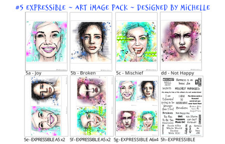 5- EXPRESSIBLE - Art Image Pack by Michelle Grant desiGns 4x Colour  Art Images in A4, A5 & A6 sizes & 1x A4 Quote Sheet - 8x Digital Jpeg files @300 dpi