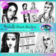 7- WARRIOR - Art Image Pack by Michelle Grant desiGns 4x B&W & Art Images in A4, A5 & A6 sizes & 1x A4 Quote Sheet - 8x Digital Jpeg files @300 dpi