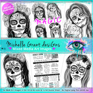 11 - MAGIC - Art Image Pack by Michelle Grant desiGns 4x B&W & Art Images in A4, A5 & A6 sizes & 1x A4 Quote Sheet - 8x Digital