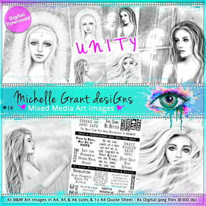 14- UNITY- Art Image Pack by Michelle Grant desiGns 4x B&W & Art Images in A4, A5 & A6 sizes & 1x A4 Quote Sheet - 8x Digital Jpeg files @300 dpi