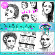 16 - SILENT- Art Image Pack by Michelle Grant desiGns 4x B&W & Art Images in A4, A5 & A6 sizes & 1x A4 Quote Sheet - 8x Digital Jpeg files @300 dpi