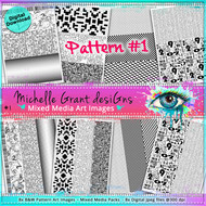 Pattern #1 - Art Image Pack by Michelle Grant desiGns 8x B&W  Pattern Art Images in A4 - 8x Digital Jpeg files @300 dpi