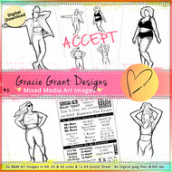 GG2- ACCEPT - Art Image Pack by Gracie Grant Designs 4x B&W & Art Images in A4, A5 & A6 sizes & 1x A4 Quote Sheet - 8x Digital Jpeg files @300 dpi