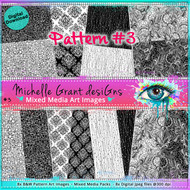 #3 Pattern - Art Image Pack by Michelle Grant desiGns 8x B&W  Pattern Art Images in A4 - 8x Digital Jpeg files @300 dpi
