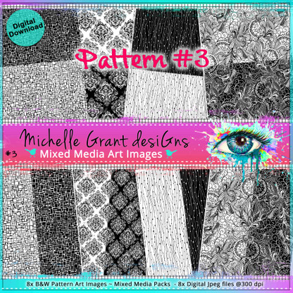 #3 Pattern - Art Image Pack by Michelle Grant desiGns 8x B&W  Pattern Art Images in A4 - 8x Digital Jpeg files @300 dpi