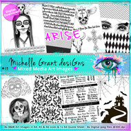 19- ARISE - Art Image Pack by Michelle Grant desiGns 8x B&W & Art Images in A4 including Quote Sheet - 8x Digital Jpeg files @300 dpi