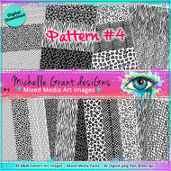 Pattern #4- Art Image Pack by Michelle Grant desiGns 8x B&W  Pattern Art Images in A4 - 8x Digital Jpeg files @300 dpi